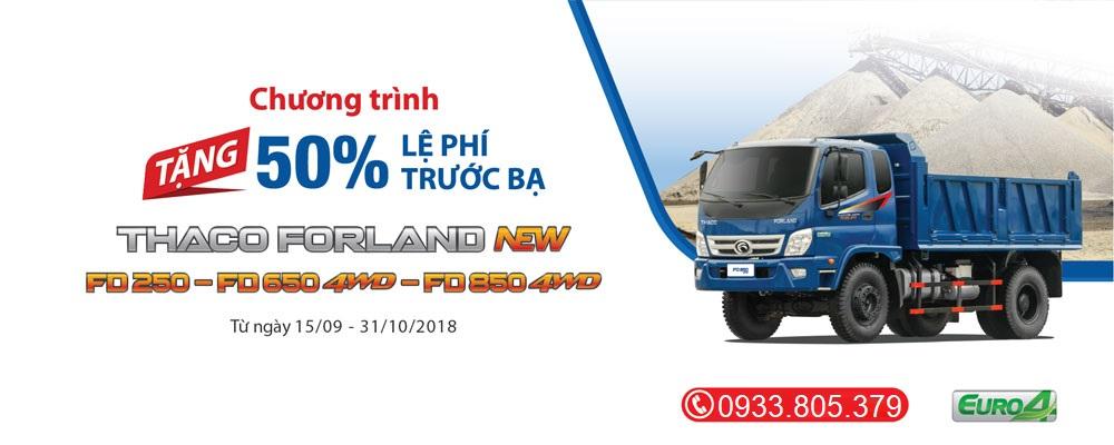 Khuyến mãi trước bạ xe ben Thaco Forland